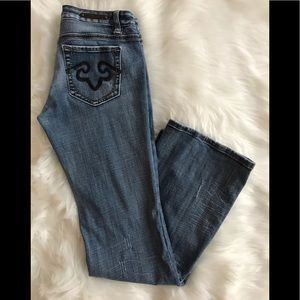 REROCK FOR EXPRESS Medium Rinse Boot Jeans; SZ 6R.
